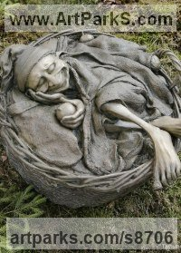 Bronze Mythical sculpture by Victoria Chichinadze titled: 'Sweet Dreams (Sleeping Resting Elf Gnome statue)'