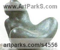 Bronze Resin Human Form: Abstract sculpture by sculptor Virginia Day titled: 'Deya (Little Minimalist nude Reclining Girl Indoor sculpturette)'