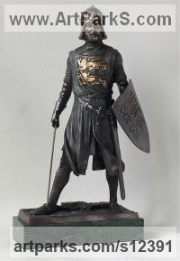 Bronze & Marble Human Figurative sculpture by Vitaliy Semenchenko titled: 'Richard the Lionheart (Little Bronze statues)'