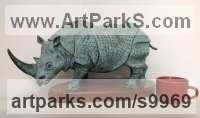 Bronze Rhino and Rhinoceros Hippo and Hippopotamus sculpture statue statuette sculpture by Vitaliy Semenchenko titled: 'Rhinoceros (Bronze Small Little Rhino statue)'