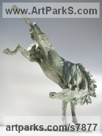 Bronze Horse Sculpture / Equines Race Horses Pack HorseCart Horses Plough Horsess sculpture by Vittorio Tessaro titled: 'Frisky Horse (Little Kicking Bucking Playing Lively Horse statuette)'