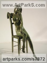 Bronze Small / Little Figurative sculpture / statuette / statuary / ornament / figurine sculpture by Vittorio Tessaro titled: 'Girl on Chair (nude Little Girl Lady statuettes)'