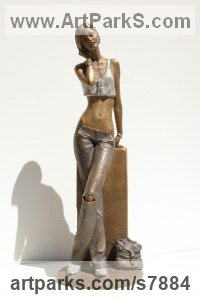 Bronze Sculptures of females by Vittorio Tessaro titled: 'Girl on Phone (Semi nude Naked Standing Girl Young Woman Lady statue)'
