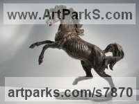 Bronze Horse Sculpture / Equines Race Horses Pack HorseCart Horses Plough Horsess sculpture by Vittorio Tessaro titled: 'Horse in Wind (Rearing Bucking bronze Little Horse statuette statue)'