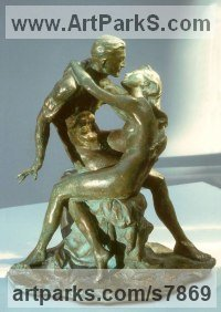 Bronze Nudes, Female sculpture by Vittorio Tessaro titled: 'Lovers (Little nude Young Lovers Embracing statue)'