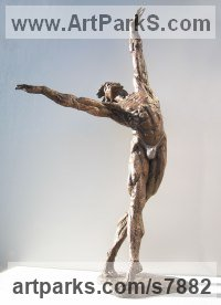 Bronze Male Men Youths Masculine Statues Sculptures statuettes figurines sculpture by Vittorio Tessaro titled: 'Nureyev (Little Bronze Male Ballet Dancer statues)'