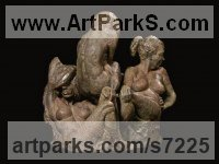 Bronze Couples or Group sculpture by Wesley Wofford titled: '21st Century Graces (Small Contemporary Three nude bronze Girl s statue)'
