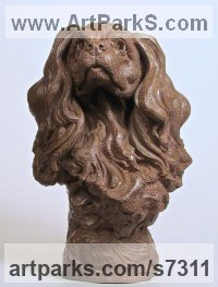 Bronze Dogs sculpture by Wesley Wofford titled: 'Adoration (Bronze Cavalier King Charles Dog Head Bust statue statuette)'