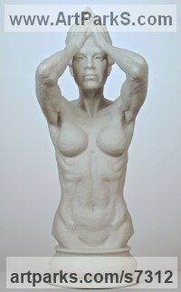 Bonded Marble (Cast Resin) Human Figurative sculpture by sculptor Wesley Wofford titled: 'Beauty Mask (nude Naked Girl Young Woman Torso life size statue)'
