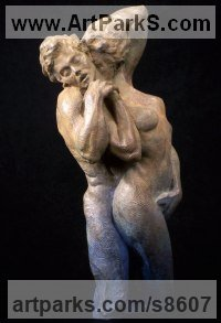 Bronze Human Figurative sculpture by sculptor Wesley Wofford titled: 'Coalescence (Passionate nude Lovers sculptures)'