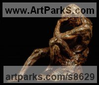 Bronze Human Figurative sculpture by Wesley Wofford titled: 'Comprehension (nude Man Reclining Thinking statue)'