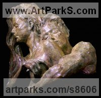 Bronze Couples or Group sculpture by Wesley Wofford titled: 'Dalliance- Embracing My Muse (Pure Love nude statues)'