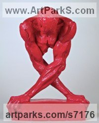 Enameled Polyester Sculpture of Men by Wesley Wofford titled: 'Generation X (Red nude Man and Technology Torso sculpture statue)'