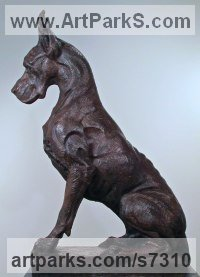 Bronze Dogs sculpture by sculptor Wesley Wofford titled: 'Great Dane- Sentinel (Big bronze Stylised Seated Guard Dog statue)'