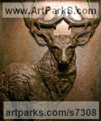 Bronze Bas Reliefs or Low Reliefs sculpture by Wesley Wofford titled: 'Majesty (Bronze Wall Mounted Deer Stag Head/Mask Trophy statue sculpture)'