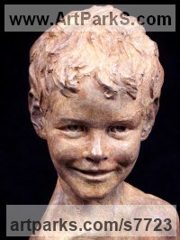 Bronze Children Child Babies Infants Toddlers Kids Sculptures Statues statuettes figurines sculpture by Wesley Wofford titled: 'Neverland Found (Bronze Child Portrait Head statue)'