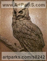 Bronze Varietal Mix of Bird Sculptures or Statues sculpture by Wesley Wofford titled: 'Nocturne (Large Owl High Relief Wall Plaque sculpture)'