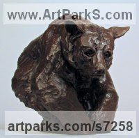 Bronze Small Animal sculpture by sculptor Wesley Wofford titled: 'Secluded (Little Brown American Bear Indoor statuette sculpture)'