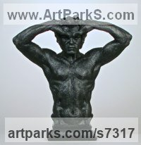 Bonded marble Human Figurative sculpture by Wesley Wofford titled: 'Self-Anointed King (Black resin marble Torso statue)'