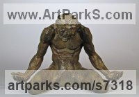 Bronze Human Figurative sculpture by Wesley Wofford titled: 'Surrender (Small nude Kneeling Muscular Man statue)'