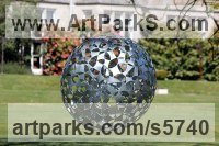 Galvanised Steel Modern Abstract Contemporary Avant Garde Sculptures or Statues or statuettes or statuary sculpture by Will Carr titled: 'Dark Matter (Round Shiny Steel Ball Spherical garden/Yard Ornament)'