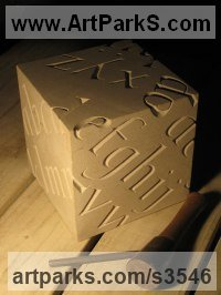 Carved and Engraved Lettering Writing Inscriptions Poems Quotations Carving Panels Sculpture by sculptor artist Will Davies titled: 'Alphabet (Fine Carved stone Cube Lettering sculptures/statuary/statue)' in Portland limestone