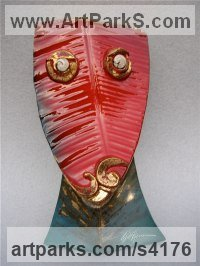 Bronze with fossil shell eyes Primitive or Naive style Sculpture or Statuary sculpture by Will Herrera titled: 'Cosmo (abstract Primitive Modern Leaf Red Face statue)'