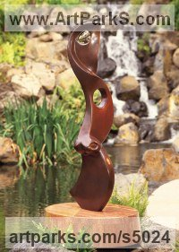 Bronze on a marble base Abstract Contemporary or Modern Outdoor Outside Exterior Garden / Yard Sculptures Statues statuary sculpture by Will Herrera titled: 'Dreamforce (abstract Modern bronze Slim Vertical sculptures statues)'