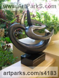 Bronze Minimalist Understated Abstract Contemporary Sculpture statuary statuettes sculpture by Will Herrera titled: 'Ocean Dream (bronze abstract Modern Sea Swirl statue)'