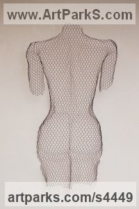 Chickenwire steel mesh Nudes, Female sculpture by sculptor William Ashley-Norman titled: 'female nude - Back (Wire Netting Torso Wall Hung high relief statue)'