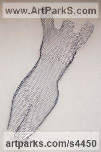Chickenwire steel mesh Torsos Chests Females / Women / Girls / Damsels sculpture statuary sculpture by sculptor William Ashley-Norman titled: 'female nude - (Standing Arms Up Wall Hanging Indoor Outside statue)'