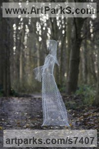 Chickenwire Stylized People sculpture by sculptor William Ashley-Norman titled: 'Ghost (Ethereal See Through Transparent Outdoor Indoor sculpture)'