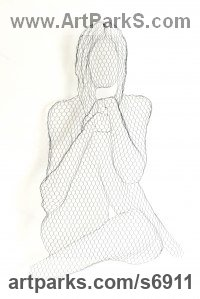 Chickenwire Torsos Chests Females / Women / Girls / Damsels sculpture statuary sculpture by sculptor William Ashley-Norman titled: 'Jennifer (Wire Mesh High Relief Sitting nude Girl Wall Hanging statue)'