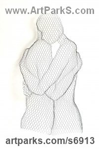 Chickenwire Nude or Naked Couples or Lovers sculpture by William Ashley-Norman titled: 'Peace (Peaceful Lovers Contemporary Hugging abstract Wall statue)'