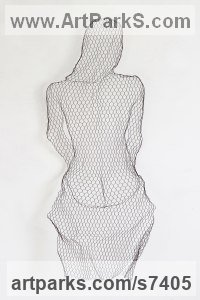 Chickenwire Torsos Chests Females / Women / Girls / Damsels sculpture statuary sculpture by sculptor William Ashley-Norman titled: 'Showered'