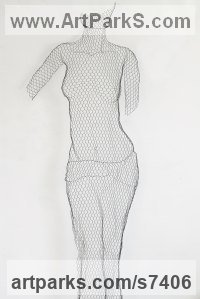 Chickenwire Torsos Chests Females / Women / Girls / Damsels sculpture statuary sculpture by sculptor William Ashley-Norman titled: 'Stripped Down (life size Wire Netting Wall nude Girl Woman statue)'