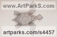 Chickenwire Reptiles Sculptures and Amphibian sculpture by sculptor William Ashley-Norman titled: 'Turtle (life size Wire Mesh Wall Hanging Indoor Outside sculpture)'