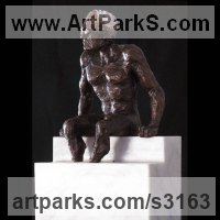 Bronze and marble Swimmers Water Polo Divers Diving sculpture Statues sculpture by William Mather titled: 'Swimmer (Man Siting Poised Ready for Race statuette)'