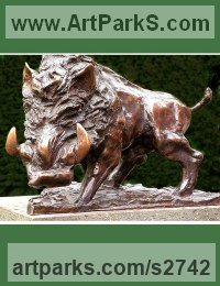 Pigs, Sows, Boars, Hogs, Piglets Sounders Sculpture or Statues by sculptor artist William Mather titled: 'Wild Boar (Small bronze Caricature charging statue)' in Bronze