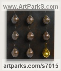 Bronze and gilding Fruit sculpture by Wrightson and Platt titled: 'Golden Bronze Pears (life size Fruit statuette)'