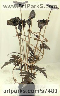 Bronze Flower sculpture statue sculpture by Wrightson and Platt titled: 'Poppy (Bronze Bunch Armistice Flower statue)'