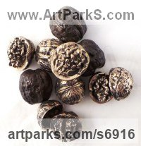 Bronze Fruit sculpture by Wrightson and Platt titled: 'Bronze Walnuts (Life-size Intricately Cast from life Walnuts)'