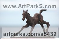Horse Sculpture / Equines Race Horses Pack HorseCart Horses Plough Horsess sculpture by sculptor Yanina Antsulevich titled: 'The Frst Hour of Life (Tottering Foal/Baby/young horse Bronzes/statue)'