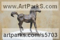 Bronze Horses Small, for Indoors and Inside Display sculpturettes Sculptures figurines commissions commemoratives sculpture by sculptor Yanina Antsulevich titled: 'The Foal (Bronze Frisky Young Horse sculptures/statues/statuettes)'