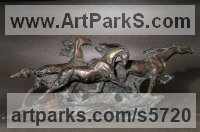Horse Sculpture / Equines Race Horses Pack HorseCart Horses Plough Horsess sculpture by sculptor Yanina Antsulevich titled: 'Trotters (little/Small Bronze Horse Plaque Bas/Low Relief panelds/statue)'