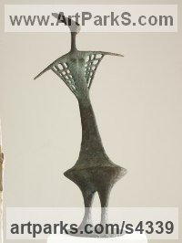 Bronze Abstract Dance / Dancer sculpture by sculptor Yladimir Slobodchikov titled: 'A Dance (Bronze abstract Contemporary Modern Woman Dancer statues)'