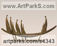 Bronze Abstract Modern Contemporary Avant Garde Sculptures Statues statuettes figurines statuary both Indoor Or outside sculpture by Yladimir Slobodchikov titled: 'In a Boat (abstract Rowers in Contemporary Boat statue sculpture)'