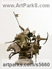 Animal Kingdom sculpture by Zakir Ahmedov titled: 'Charge (Cavalry Charge of Tartars, Mongols sculptures/statuette)'