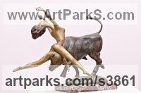 Bronze Historical Character Statues / sculpture by Zakir Ahmedov titled: 'Evropa (Small Bronze Lively nude and Bull statuette)'