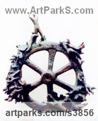 Bronze Allegorical / Parable sculpture by sculptor Zakir Ahmedov titled: 'Fortuna (Small bronze Humanised Wheel of Fortune sculpturette)'